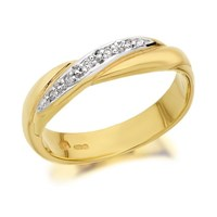 9ct Gold Two Colour Diamond Set Wedding Ring - 4mm - R4465-S