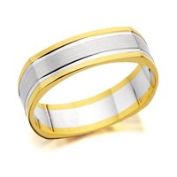 9ct Two Colour Gold Square Edged Wedding Ring - 5mm - R4587-O