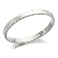 Platinum D Shaped Wedding Ring - 2mm - R4609-J