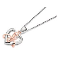 Clogau Silver And 9ct Rose Gold Dwynwen Opal Heart Pendant And Chain  R4813