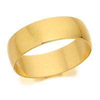 9ct Gold D Shaped Wedding Ring - 6mm - R5216-X