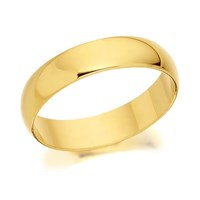 9ct Gold Heavyweight D Shaped Wedding Ring - 4mm - R5224-L