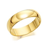 9ct Gold Extra Heavyweight D Shaped Wedding Ring - 6mm - R5236-V