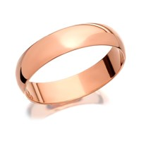 9ct Rose Gold Heavyweight D Shaped Wedding Ring - 4mm - R5424-M