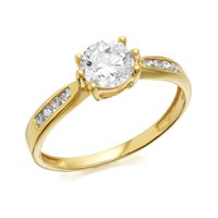 9ct Gold Cubic Zirconia Solitaire Ring - R5908-K