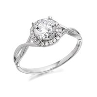 9ct White Gold Cubic Zirconia Twist Cluster Ring - R5910-M