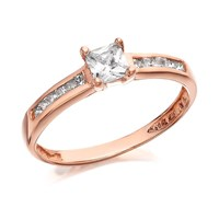 9ct Rose Gold Princess Cut Cubic Zirconia Ring - R5913-J