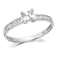 9ct White Gold Princess Cut Cubic Zirconia Ring - R5950-L