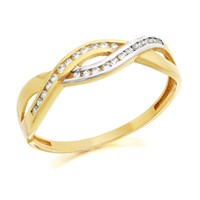 9ct Gold Two Colour Cubic Zirconia Twist Ring - R6103-K