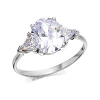 9ct White Gold Cubic Zirconia Trilogy Ring - R6104-P
