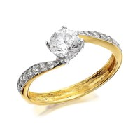9ct Gold Cubic Zirconia Twist Ring - R6204-Q