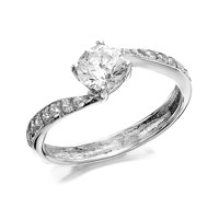9ct White Gold Cubic Zirconia Twist Ring - R6205-O