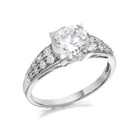 9ct White Gold Cubic Zirconia Ring - R6502-P