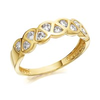9ct Gold Cubic Zirconia Lattice Ring - R6505-L