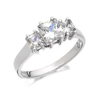 9ct White Gold Cubic Zirconia Princess Cut Trilogy Ring  R6506L