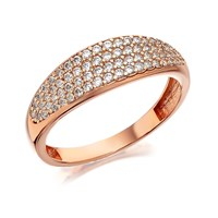 9ct Rose Gold Cubic Zirconia Band Ring - R6508-M
