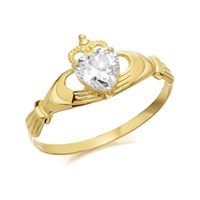 9ct Gold Cubic Zirconia Heart Claddagh Ring - R6510-J