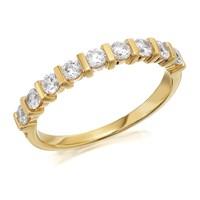 9ct Gold Nine Cubic Zirconia Half Eternity Ring - R6511-K