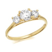9ct Gold Cubic Zirconia Trilogy Ring - EXCLUSIVE - R6513-K