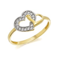 9ct Gold Two Colour Cubic Zirconia Twinned Heart Ring - R6514-K