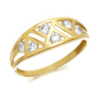 9ct Gold Art Deco Style Cubic Zirconia Ring - R6517-K
