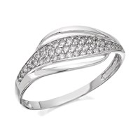 9ct White Gold Cubic Zirconia Wave Ring - R6519-Q