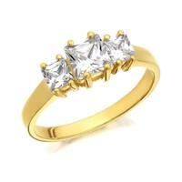 9ct Gold Cubic Zirconia Princess Cut Trilogy Ring - R6554-L