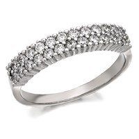 9ct White Gold Double Row Cubic Zirconia Band Ring - R6587-S