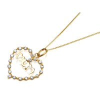 9ct Gold Cubic Zirconia Mum Heart Pendant And Chain  R6904