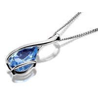 9ct White Gold Blue Topaz Teardrop Pendant And Chain  R7050