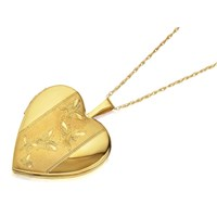 9ct Gold Heart Butterfly Locket And Chain - R7208