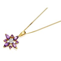 9ct Gold Amethyst And Diamond Star Necklace  R8229