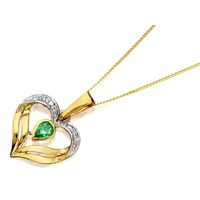 9ct Gold Emerald And Diamond Heart Pendant And Chain - R8310