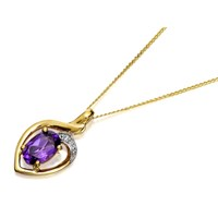 9ct Gold Amethyst And Diamond Pendant And Chain - R8311