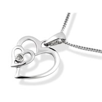 9ct White Gold Diamond Double Heart Pendant And Chain  R8313
