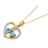 9ct Gold Blue Topaz And Diamond Heart Pendant And Chain  R8390