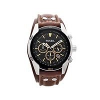 Fossil CH2891 Coachman Stainless Steel Chronograph Brown Leather Cuff Strap Watch - W0718