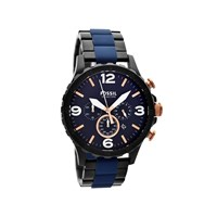 Fossil JR1494 Nate Black Ionic Finish Chronograph Bracelet Watch - W0761