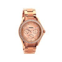 Fossil ES2811 Riley Rose Gold Plated Stone Set Bracelet Watch - W1008