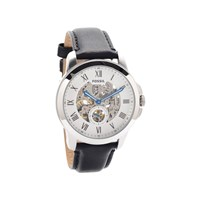 Fossil ME3053 Grant Automatic Skeleton Black Leather Strap Watch - W10102