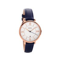 Fossil ES3843 Jacqueline Rose Gold Plated Navy Blue Leather Strap Watch - W10113