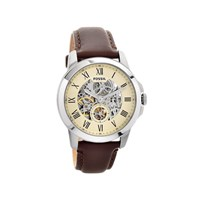 Fossil ME3052 Grant Stainless Steel Automatic Skeleton Brown Leather Strap Watch - W1033