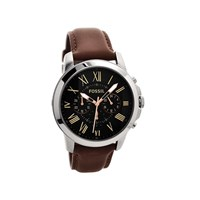 Fossil FS4813 Grant Stainless Steel Chronograph Brown Leather Strap Watch - W1095
