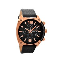Diesel DZ4297 Overflow Rose Gold Plated Chronograph Black Leather Strap Watch - W1120