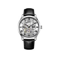 Rotary GS02940/06 Vintage Skeleton Dial Mechanical Black Leather Strap Watch - W1239
