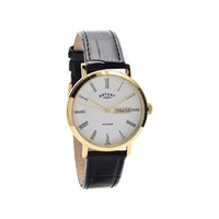 Rotary GS05303/01 Windsor Gold Plated Black Leather Strap Watch - W1273