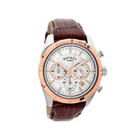 Rotary GS00291/06 Two Tone Chronograph Brown Leather Strap Watch - W1316