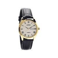 Lorus RJ652AX9 Gold Plated Lumibrite Black Leather Strap Watch  W1680