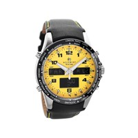 Accurist 7041 Yellow Dual Display Black Leather Strap Watch - EXCLUSIVE - W1854