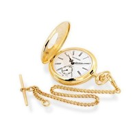 Jean Pierre G103PM Gold Plated Mechanical Half Hunter Pocket Watch And Chain - W2322